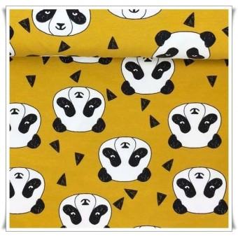 Tela punto algodon organico osos panda