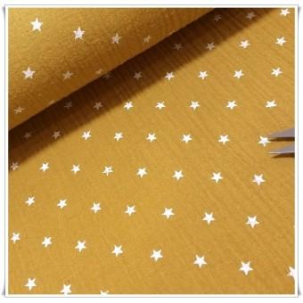 Tela muselina estrellas mostaza