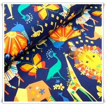 Retal tela origami azul - 38 cms