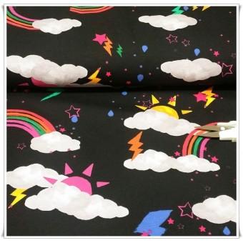 Retal tela jersey nubes y arcoiris 36 cms