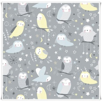 Tela whimsical owls gray
