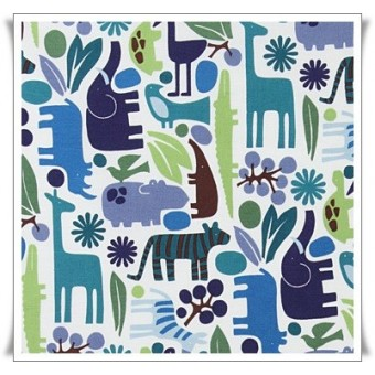 Fat quarter tela 2d zoo azul