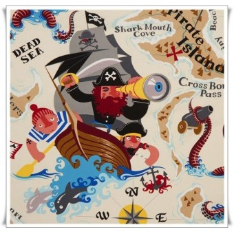 Tela isla pirata beige