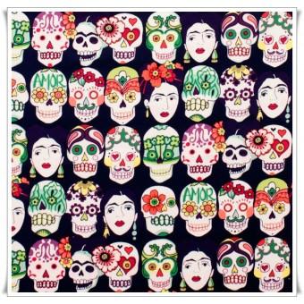 Tela Frida gotas de amor berenjena