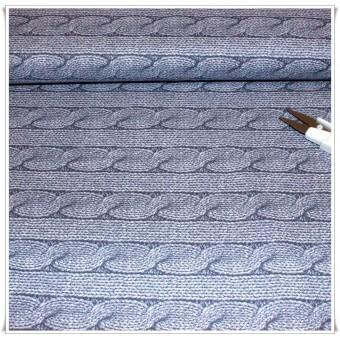 Tela imitacion jersey lana azul