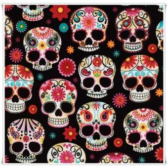 Retal tela Paisley Skulls 23 cms
