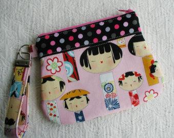 Monedero tela japoneses rosa