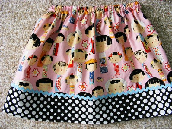 Falda con tela japoneses rosa