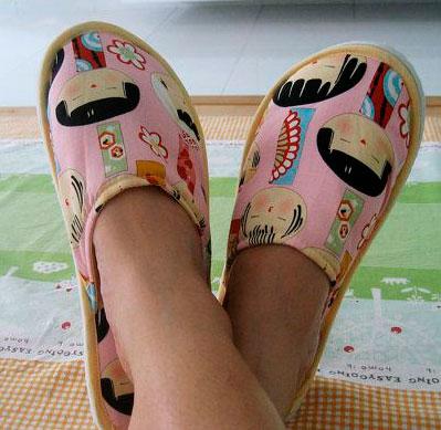 Zapatillas con tela japoneses rosa