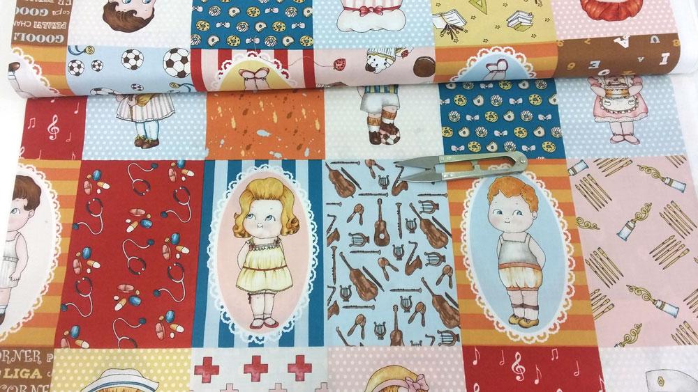Tela muñecas papel patchwork