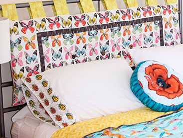 Tela mariposas cabecero cama