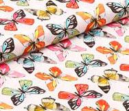 Tela mariposas acuarela