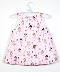 Vestido bebe con dibujos de bailarinas en tonos rosa