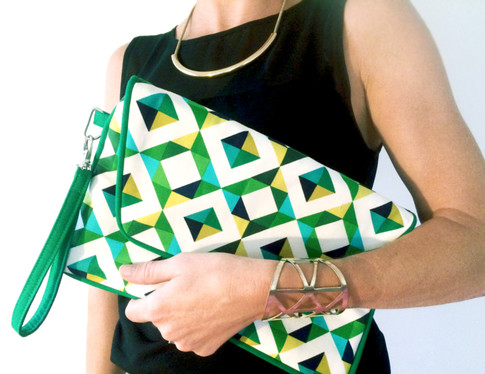 Bolso de mano con tela Diamonds Emerald