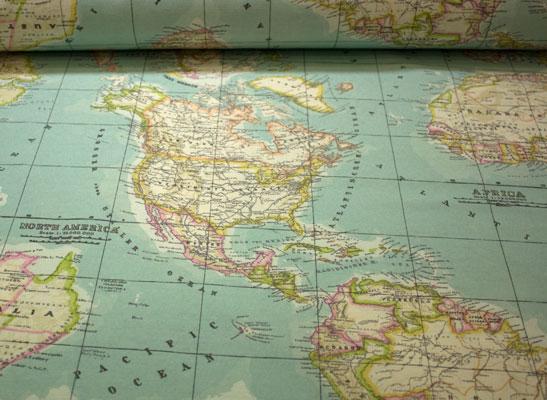 Rollo tela loneta mapa mundi