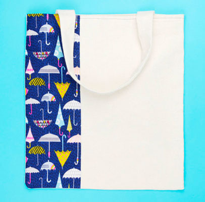 Bolsa de tela con diseño de paraguas