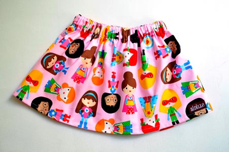 Falda tela supergirls rosa