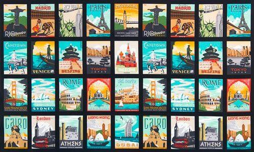 Detalle postales tela dream vacation