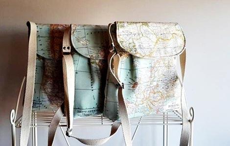 Bolsos tela impermeable mapa mundi