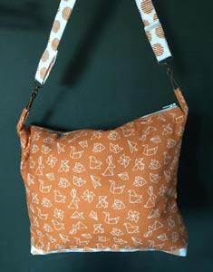 Bolso con tela origami naranja bcn fabrics