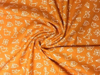 Detalle tela origami naranja