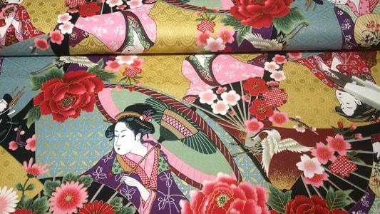 Tela japonesa con geishas