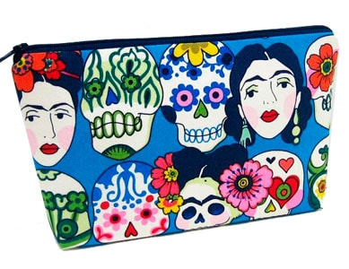 Neceser con tela Frida turquesa
