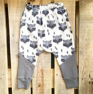Pantalones para bebe con tela organica zorros