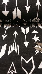 Detalle tela loneta flechas negro