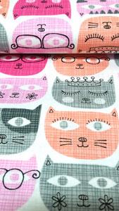 Detalle tela gatos rosa