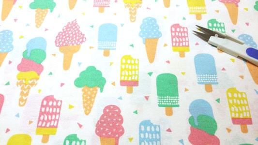 Detalle tela loneta helados party