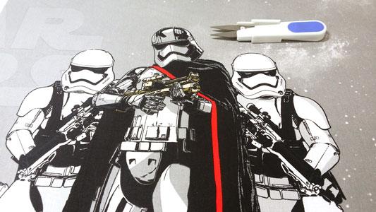 Detalle tela con los soldados del imperio star wars