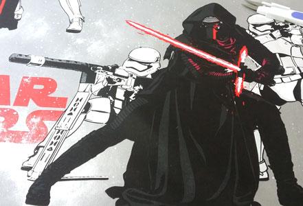 Detalle de la tela estampada Kylo Ren star wars