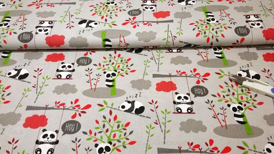 Detalle tela osos panda gris