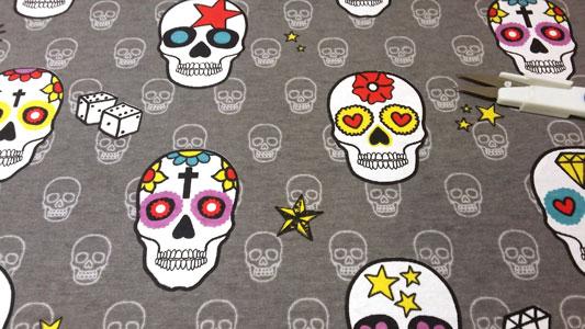 Detalle loneta mexican skulls