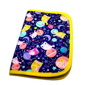 Cuaderno forrado con tela de buhos morada
