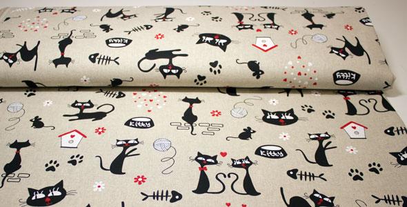 Loneta con dibujos de gatos
