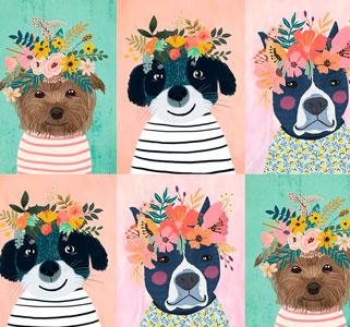 Tela perros flores corona