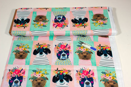 Patchwork retratros perros flores