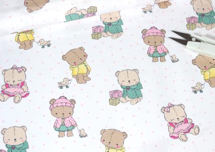 Tela de algodon con dibujos de ositos bebé