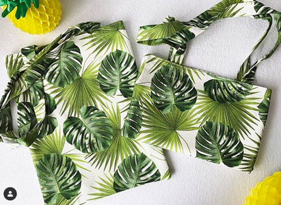 Loneta hojas verdes bolsos
