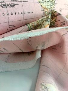 Tela de loneta mapa mundi rosa