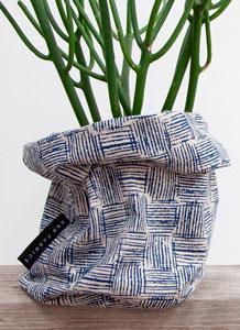 Cesto decoracion cosido con tela de loneta