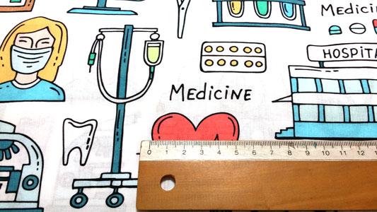 Tela doctor medicina detalle dibujos