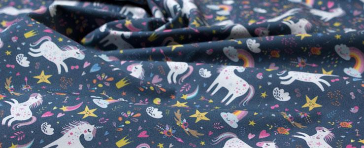 Tela unicornios estampada algodon