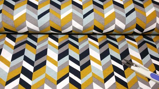 Detalle de tela de loneta estampado zig zag
