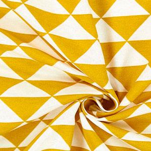 Tela de loneta triangulos amarilla mostaza