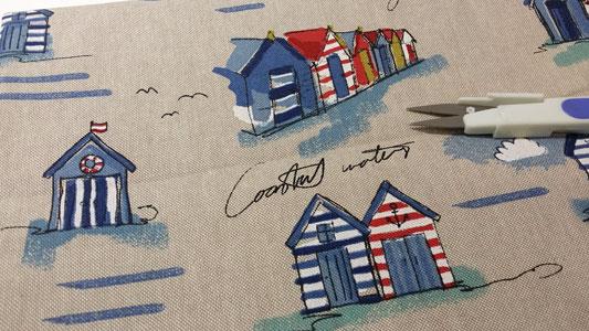 Loneta estampada casitas playa Zarautz