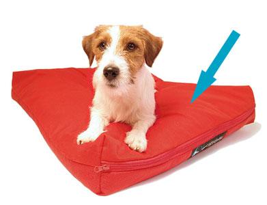 Tela para cama de mascota en color rojo