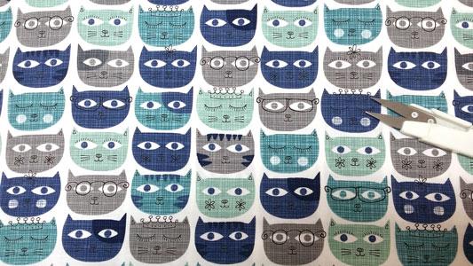 Detalle tela sassy cats blue